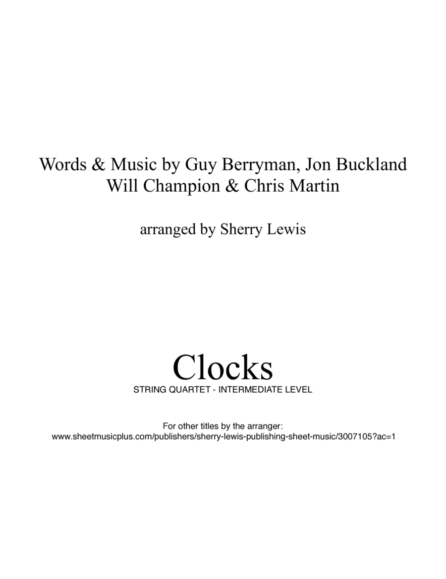 Clocks for String Quartet, String Trio, String Duo, Solo Violin, String Quartet + string bass chord chart, arranged by Sherry Lewis