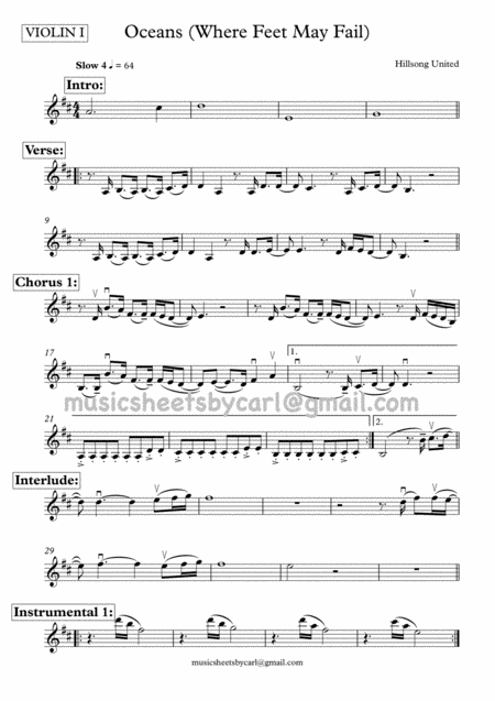 Oceans (Where Feet May Fail) - Hillsong United - String Quartet - All Parts