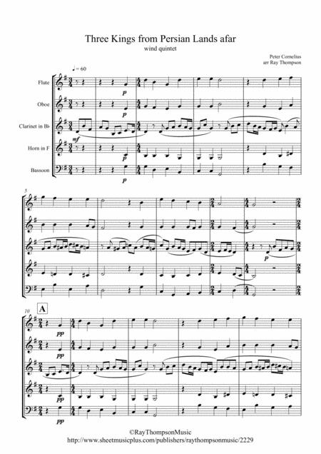 Cornelius: Three Kings from Persian Lands afar - wind quintet