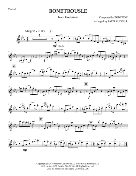 Bonetrousle (from Undertale) (String Quartet)