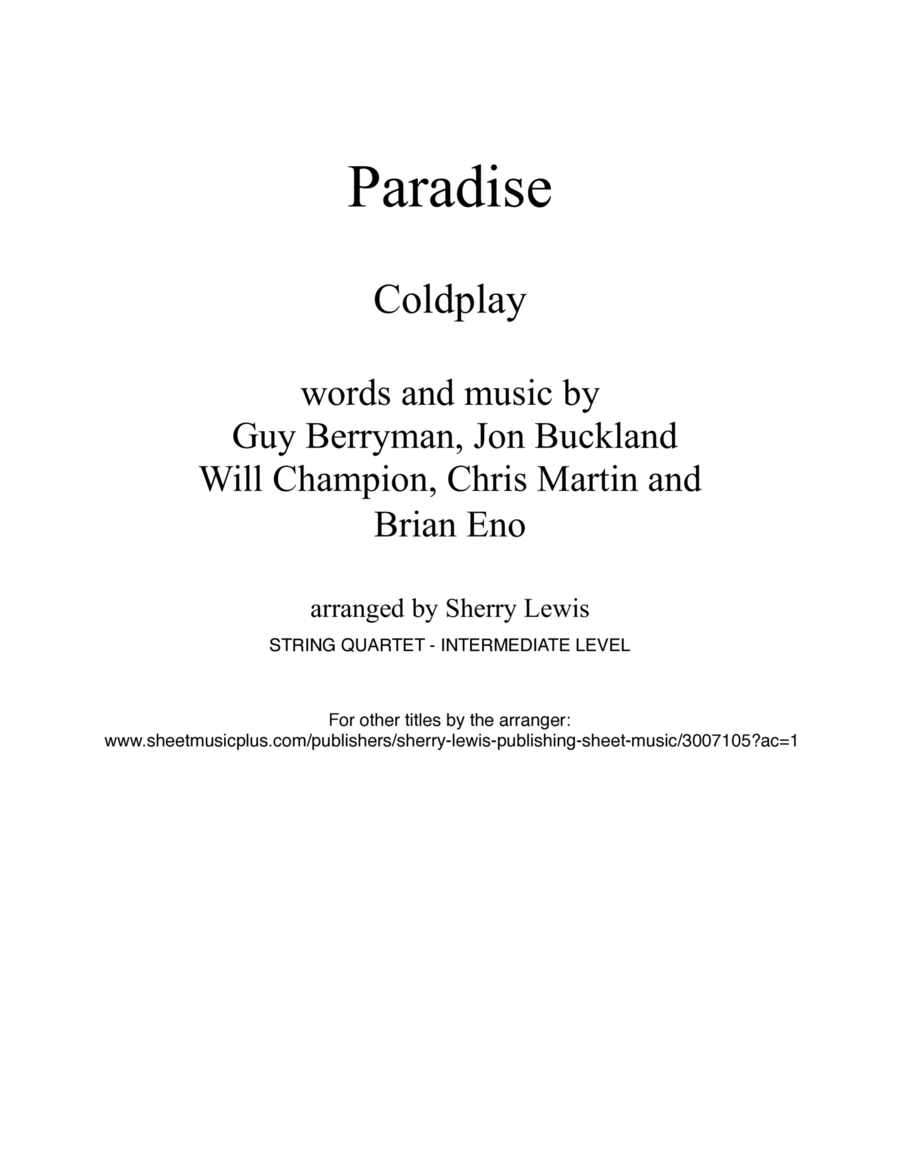 Paradise for String Quartet, String Trio, String Duo, Solo Violin, String Quartet + string bass chord chart, arranged by Sherry Lewis