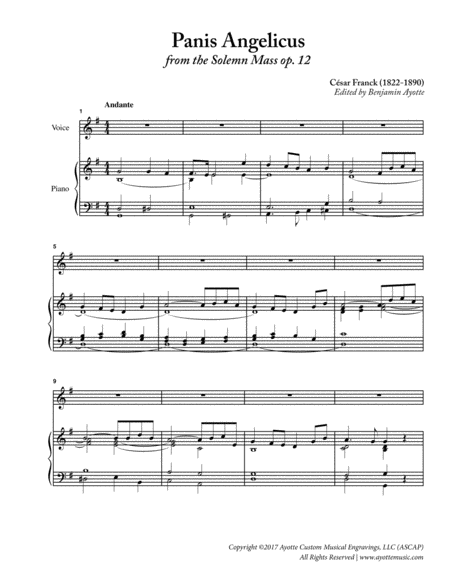Panis Angelicus from the Solemn Mass op. 12