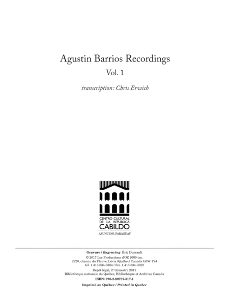 Agustin Barrios Recordings, Vol. 1