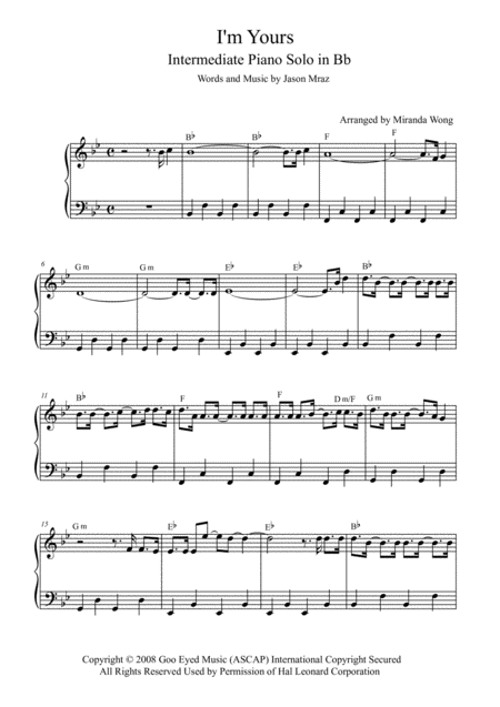 I'm Yours - Intermediate Piano Solo in Bb Key (With Chords)