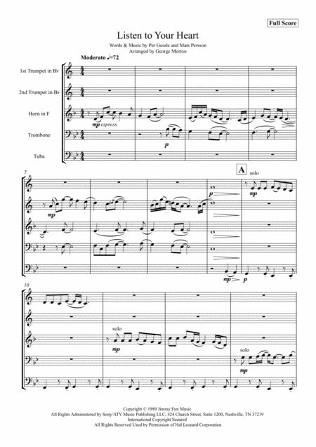 Listen To Your Heart for Brass Quintet