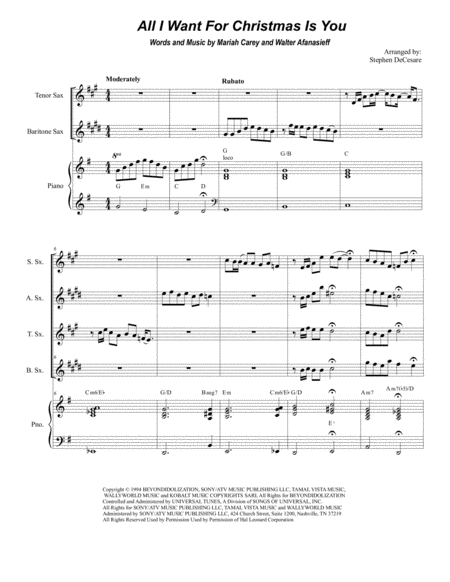 All I Want For Christmas Is You (for Saxophone Quartet)