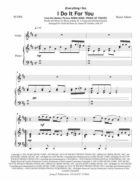 Bryan Adams: (Everything I Do) I Do It For You for Violin & Piano