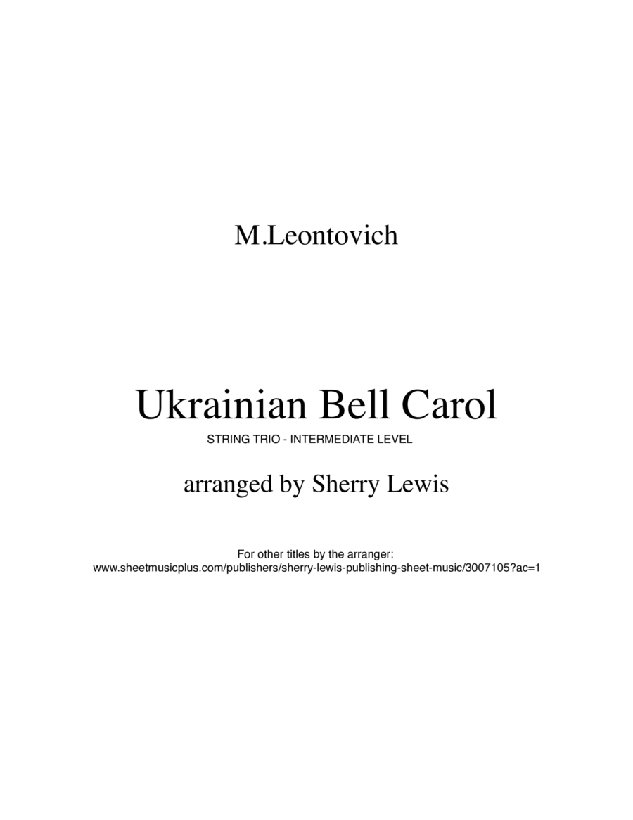 Ukrainian Bell Carol (Carol of the Bells) for STRING TRIO