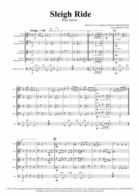 Sleigh Ride - Easy Swing - Brass Quartet