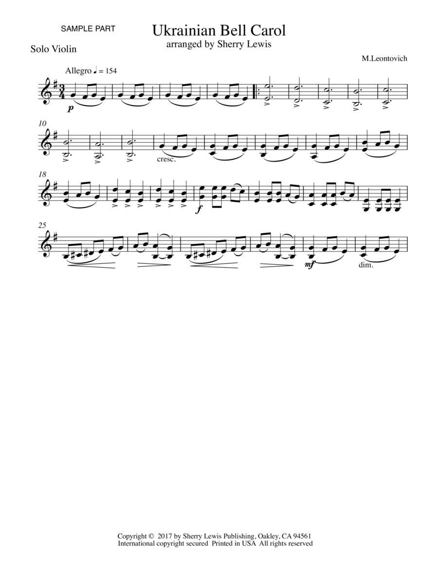 Ukrainian Bell Carol (Carol of the Bells) for SOLO VIOLIN