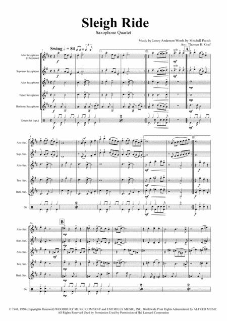 Sleigh Ride - Easy Swing - Saxophone Quartet