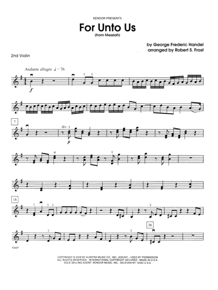 For Unto Us (from Messiah) - 2nd Violin