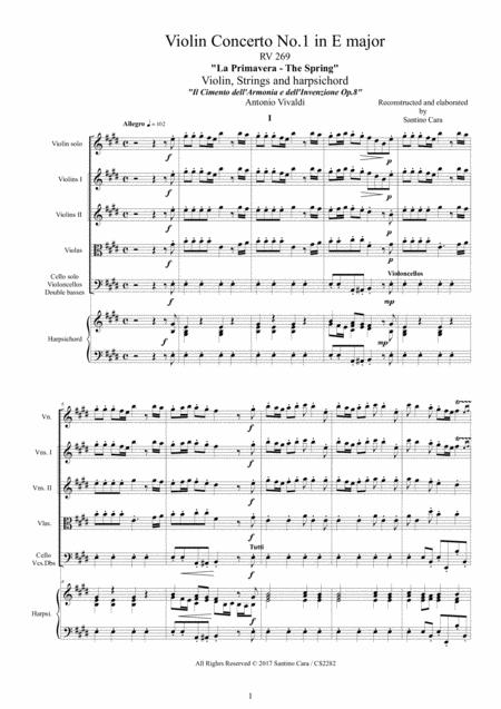 Vivaldi - Violin Concerto No.1 in E major RV 269 (Spring) Op.8 for Violin, Strings and Harpsichord