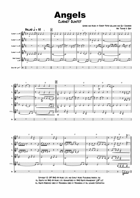 Angels - Robby Williams - Clarinet Quintet