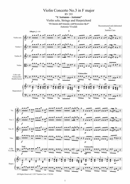 Vivaldi - Violin Concerto No.3 in F major (Autumn) RV 293 Op.8 for Violin, Strings and Harpsichord