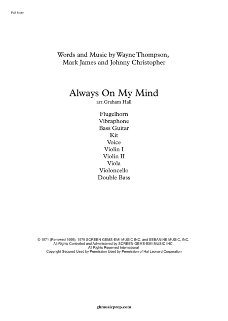 Always On My Mind (for voice and chamber ensemble)