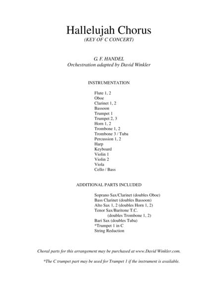 Hallelujah Chorus (orchestration, key of C)