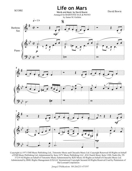 David Bowie: Life On Mars for Baritone Sax & Piano