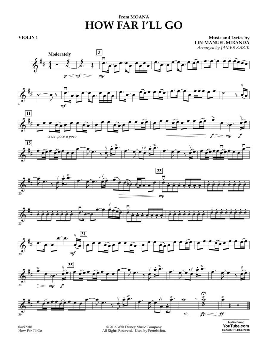 How Far I'll Go (from Moana) - Violin 1