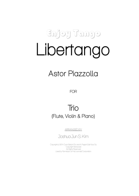 Enjoy Tango (Libertango for piano trio)