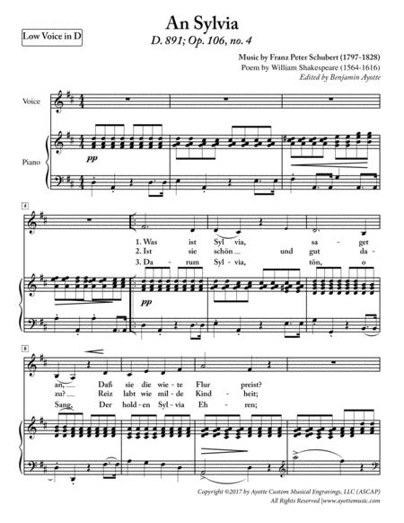 Schubert - Any Sylvia - Low Voice in D Major