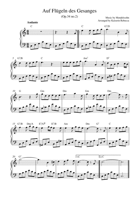 Auf Flügeln des Gesanges (On Wings of Song, Op.34 no.2)