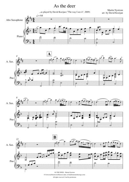 As the deer - PIANO & SOLO in Eb (alto sax)