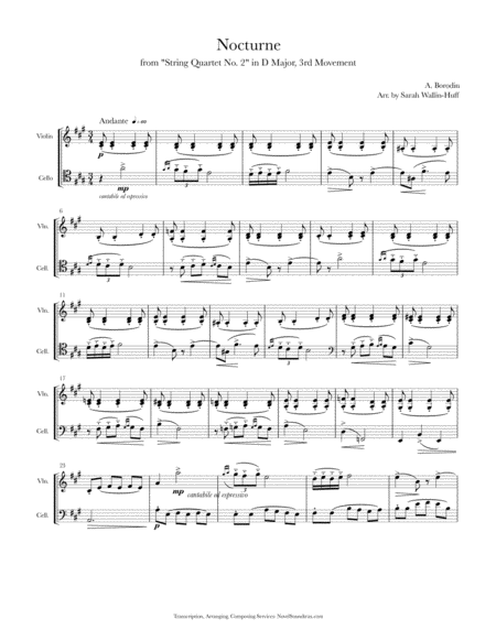 Borodin Nocturne (for Violin/Cello Duo)