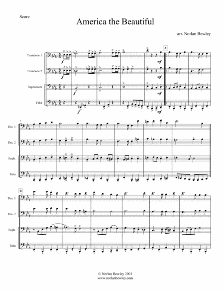 America The Beautiful - Low Brass Quartet