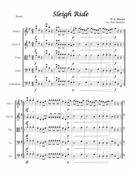 Mozart Sleigh Ride for String Orchestra