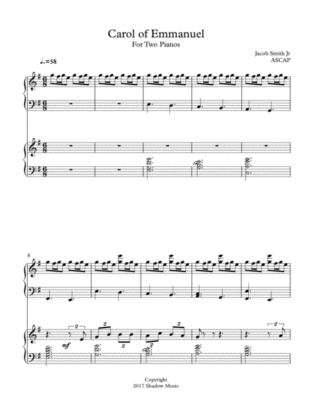 Carol of Emmanuel for Two Pianos