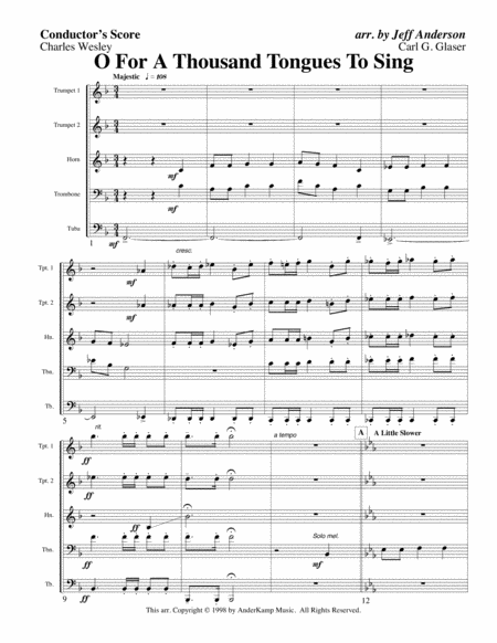 Oh For a Thousand Tongues to Sing for Brass Quintet