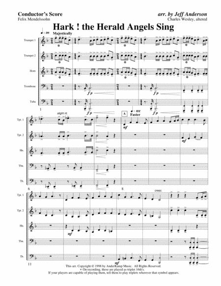 Hark the Herald Angels Sing for Brass Quintet