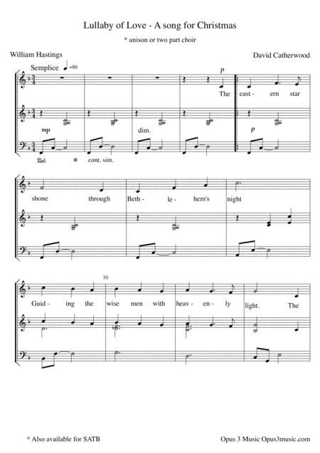 Lullaby of Love - A Christmas Song (for unison or 2 part Choir)