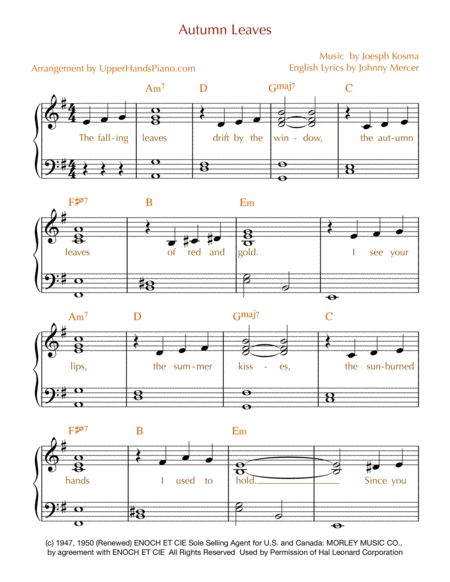 Autumn Leaves - EASY PIANO