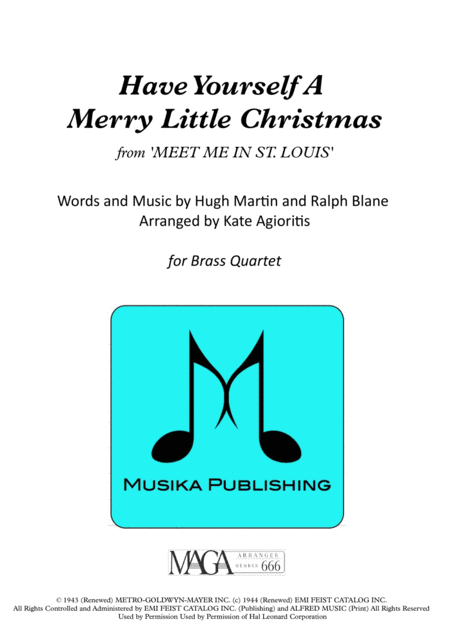 Have Yourself A Merry Little Christmas - for Brass Quartet