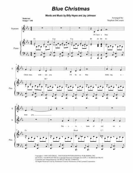 Blue Christmas (Duet for Soprano and Alto Solo)