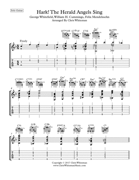 Hark! The Herald Angels Sing - Jazz Guitar Chord Melody