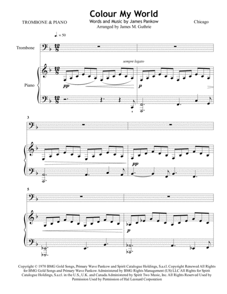 Chicago: Colour My World for Trombone & Piano