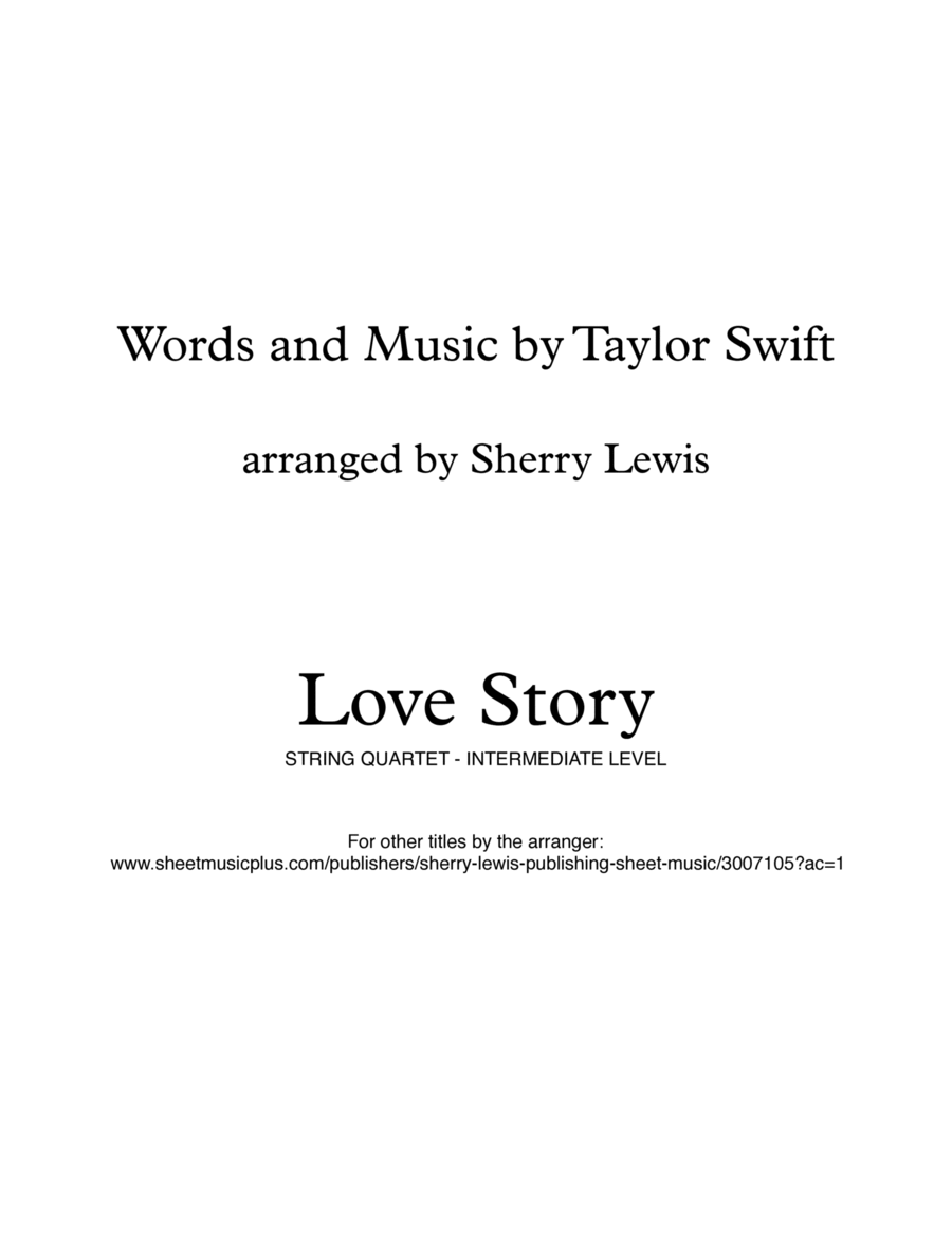 Love Story for String Quartet, String Trio, String Duo, Solo Violin, String Quartet + string bass chord chart, arranged by Sherry Lewis