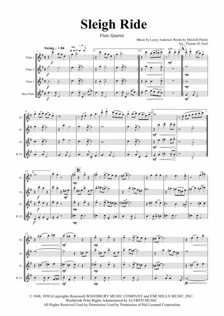 Sleigh Ride - Easy Swing - Flute Quartet