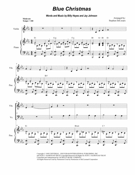 Blue Christmas (Duet for Violin and Cello)
