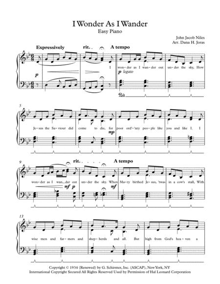 I Wonder As I Wander for Easy Piano