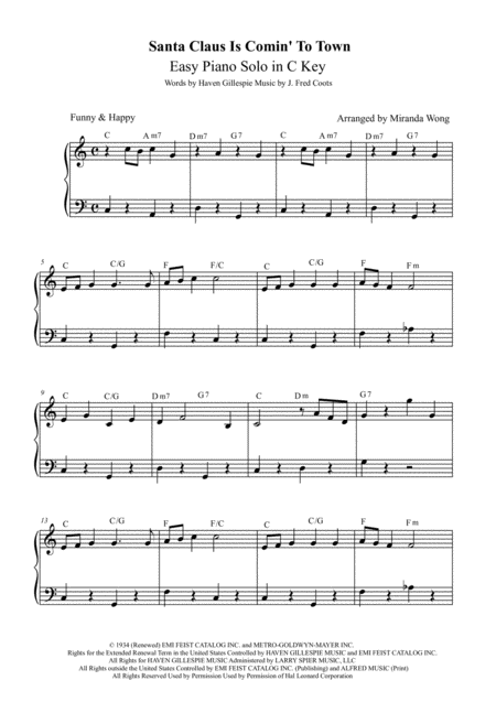 Santa Claus Is Comin' To Town - Easy Christmas Piano Solo (With Chords)