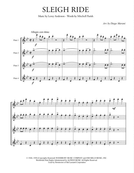Sleigh Ride for Flute Quartet