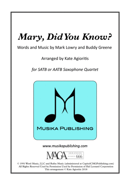 Mary, Did You Know? - for Saxophone Quartet