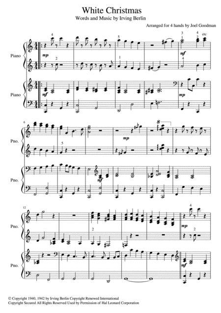 White Christmas 4 HANDS piano - 2017 Holiday Contest Entry