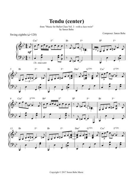 Tendu (center - jazz style) - Sheet Music for Ballet Class - from