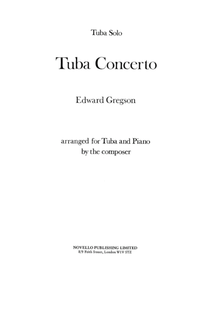 Tuba Concerto - Edward Gregson and Piano Accompanament