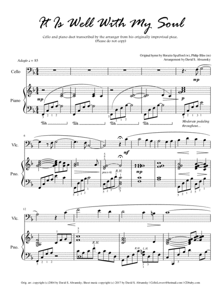 It Is Well With My Soul (arr. for cello and piano)